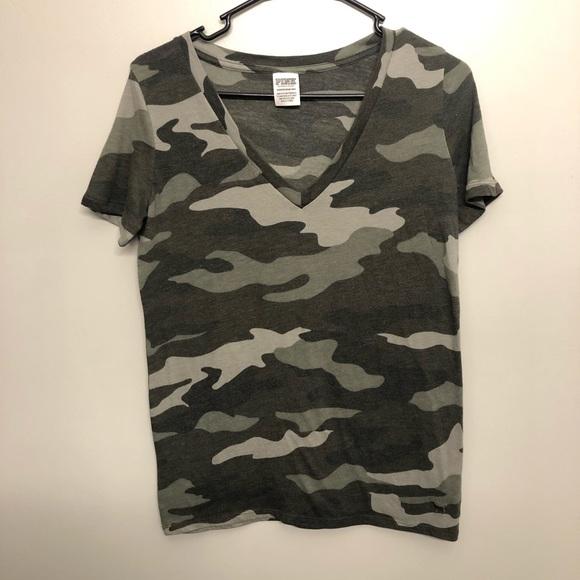 Victoria secret pink camouflage shirt green xs